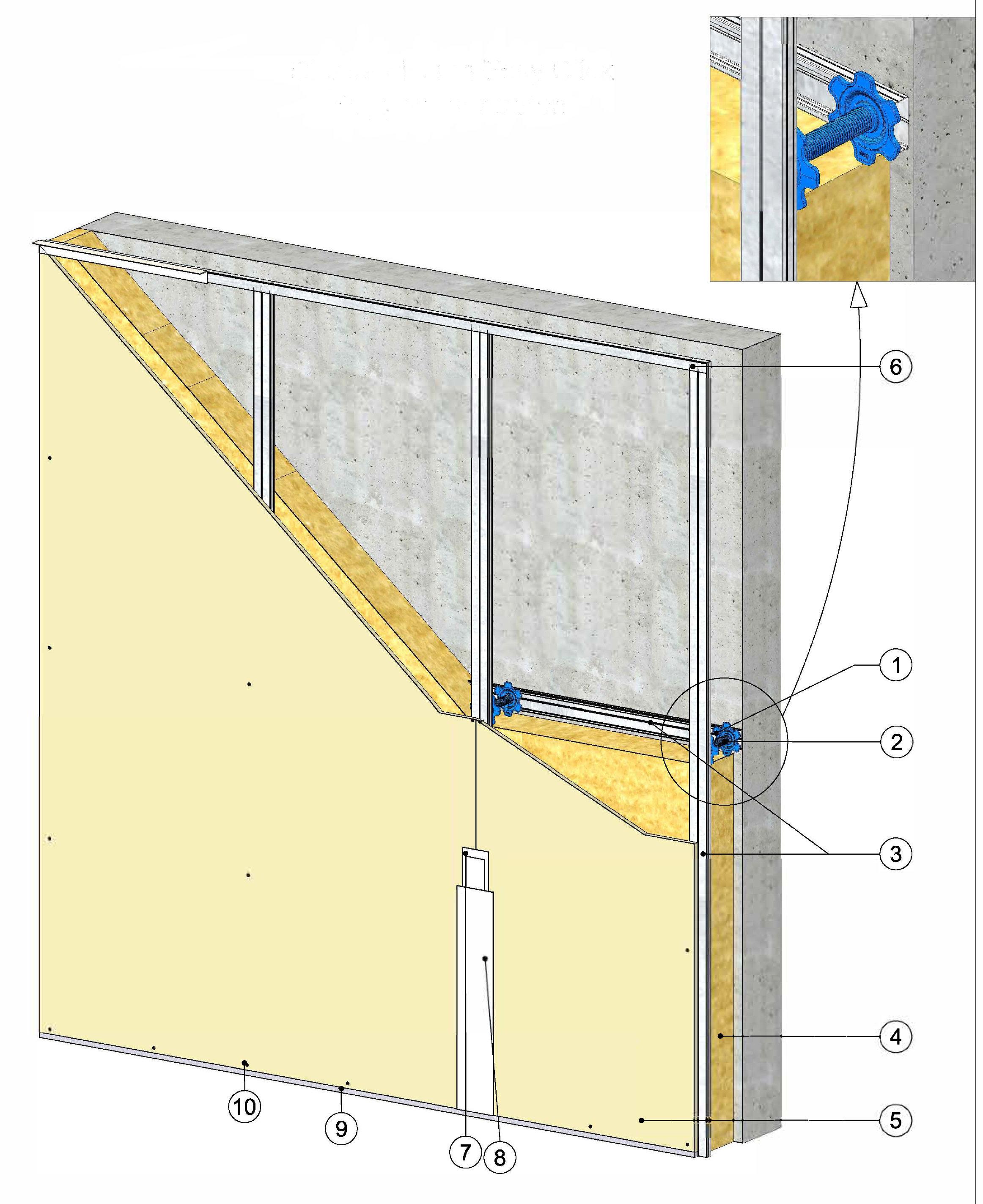 Contre Cloison Easy Click Support mur béton