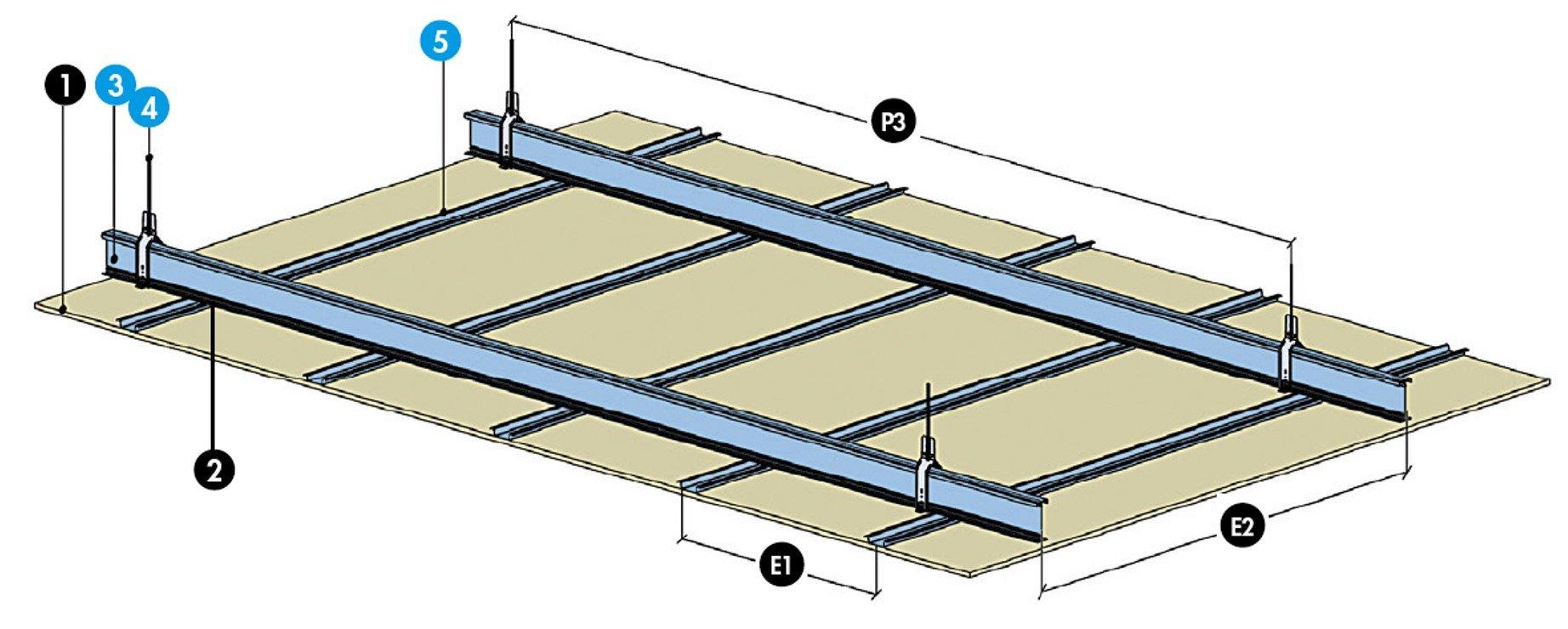 Plafond longue port e knauf i tec 100 fourrures f47 ou for Suspente knauf