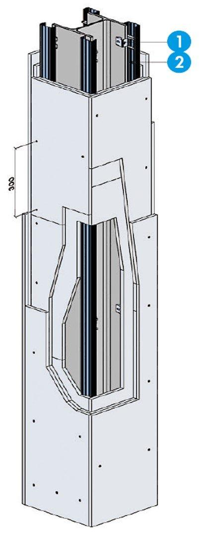 Système de protection - Protection d'une poteau avec triple peau
