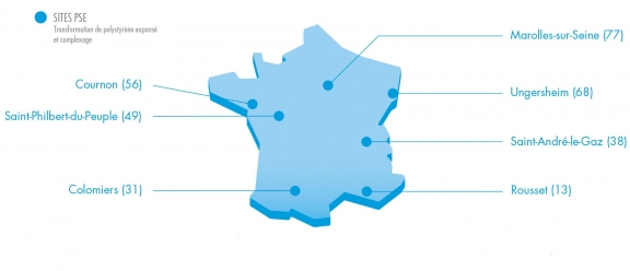 Carte des sites de production de PSE Knauf en France