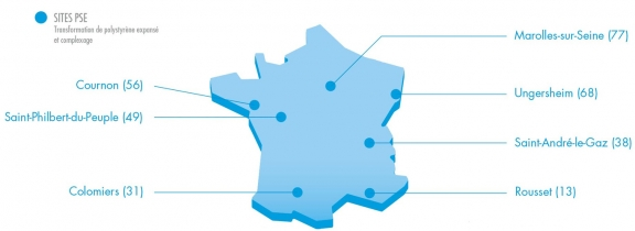 Sites de production de PSE Knauf en France